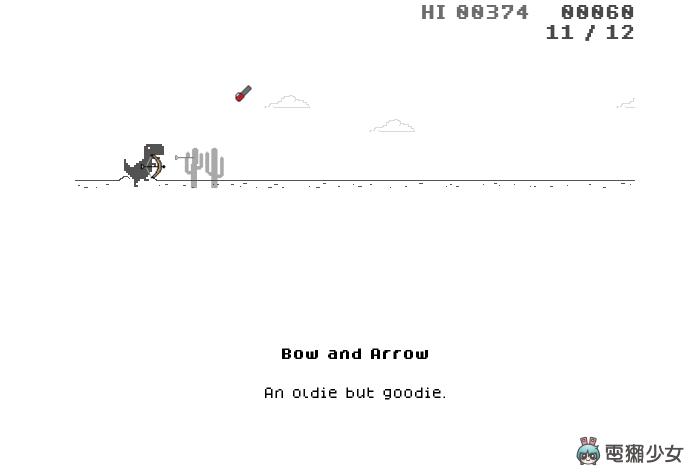 改編自 Chrome 斷線小恐龍的『 DINO SWORDS 』小遊戲 擁有 26 種不同武器 看到障礙物就砍 比原版更有趣!